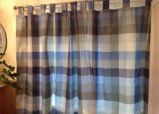 NEXT blue check fully-lined tab top curtains