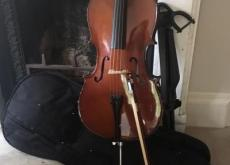 ¼ size Stentor cello with case and Stagg stand