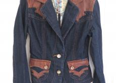 Blue denim jacket with leather Seven7