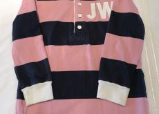Jack Wills Navy and Pink Stripe Rugby Shirt