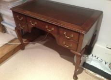 Antique Desk, Leather inlay top.