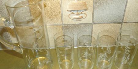 Vintage etched glass pitcher & 4 matching glasses