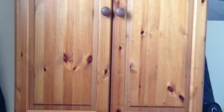 Solid pine wardrobe with three draws & two rails
