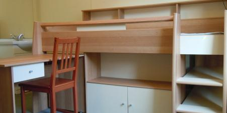 Mid-sleeper bed with desk, shelves & cupboard