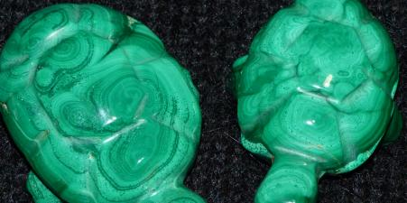 Malachite carved pr of tortoises/turtles. African