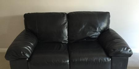 Black Faux Leather 2 Seater Sofa, Great Condition!