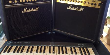 2 Marshall amplifiers & electric keyboard