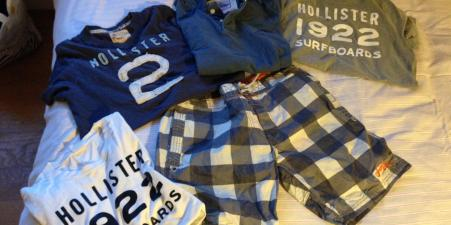 3 Hollister T-shirts & Superdry shorts/polo shirt