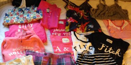 Selection of Abercrombie & Fitch/Hollister clothes