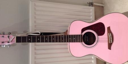 Guitar .Full size pink 'vintage' by john hornby